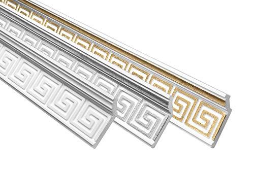 Marbet Deckenleiste B-21 weiß aus Styropor EPS - Stuckleisten gemustert, im traditionellen Design - (20 Meter Sparpaket) Styroporleiste Winkelleiste Wandleiste
