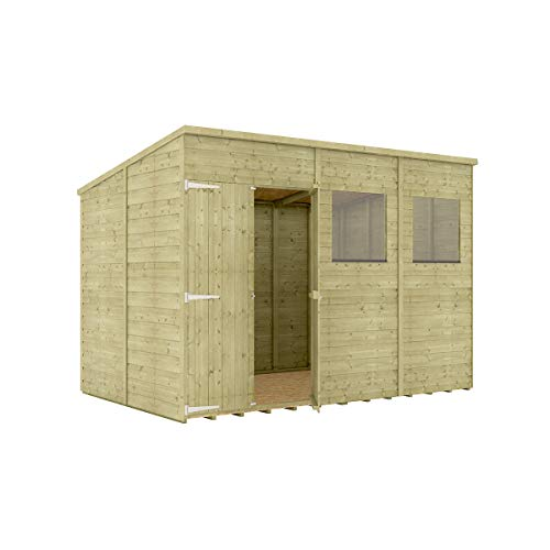 Project Timber 10 x 6 Pressure Treated Hobbyist Pent Shed Tongue & Groove Shiplap Cladding Construction Offset Door OSB Floor Wooden Garden Shed 3.04m x 1.82m