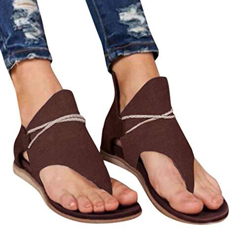 KFEK Sandales d'été rétro 2021 pour femme, style gladiateur rétro bohémien à franges, bout plat, bottines, chaussures de plage (B40)