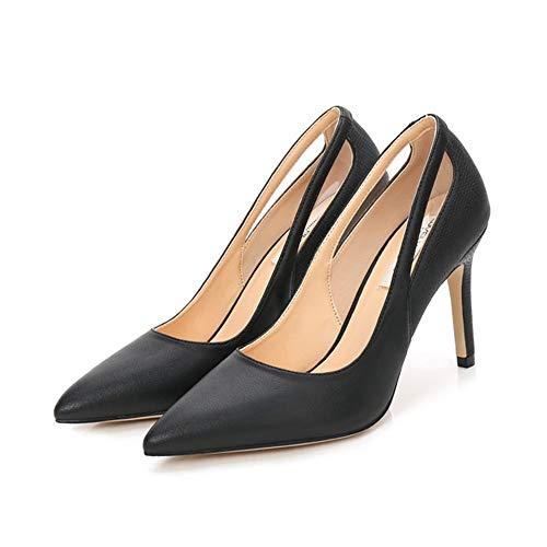 Dames Puntige naaldhakken, 9 cm leer zwart Wit Concise en Vogue High Stiletto vier seizoenen enkellaarzen,Black,36EU