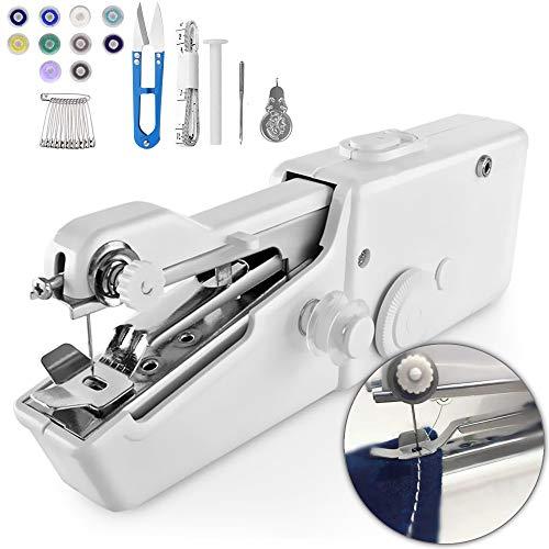De.Zev Mini Nähmaschine, 29 pcs Tragbare Handheld Nähmaschine, Elektrische Schnellstichwerkzeug für DIY, Stoff Kleidung, Vorhang, Kindertuch, Schal - AA Batteriebetrieben (Weiß)