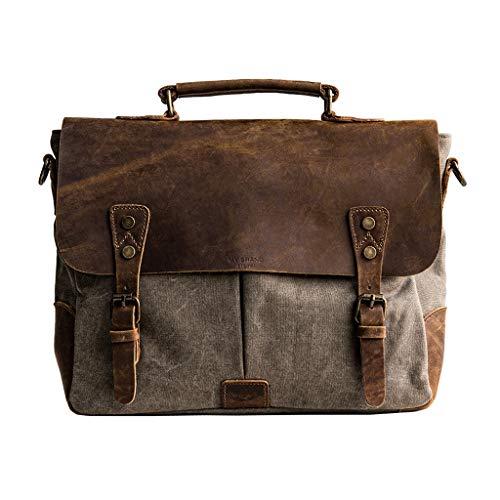 TUCY Heren portemonnee 14-inch vintage canvas aktetas grote satchel schoudertas laptoptas voor zakenreizen, familieuitstapjes en school