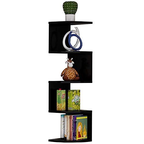 LJFYXZ Estantería Librería Estantes de Pared de Esquina Madera de melamina 5 estantes de Esquina 87.5x20cm (Color : Black)