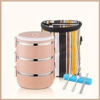 積み重ね可能なステンレススチールランチボックスとランチバッグ,大人のための食器が付いている漏れ防止食品貯蔵容器 オフィス-e 19.5x14.5cm(8x6inch)