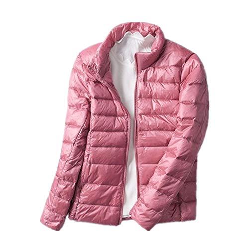N\P Frühling und Herbst Leichte Daunenjacke Damen Kurz Stehkragen Slim Plus Size Kurze Jacke Gr. 5X-Large, rose