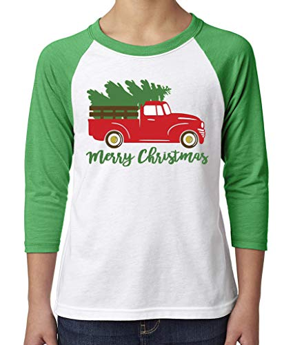 Toddler, Youth, Baby Christmas Shirt - Truck 3/4 Green Sleeve Tshirt - Youth Small