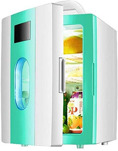 Mini-koelkast, elektrische koelbox, 12 V, 240 V, voor auto en huis, 10 liter, draagbare koelkast, koelen en warme autokoelruimte met vensters voor reizen en camping Green Mini Fridge.