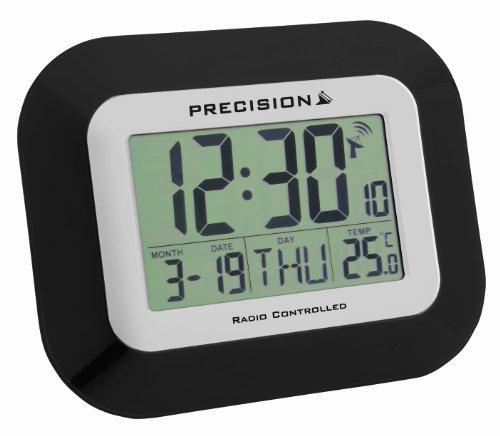 Precision PREC0097 draadloos gestuurde LCD-klok om neer te zetten of voor wandmontage