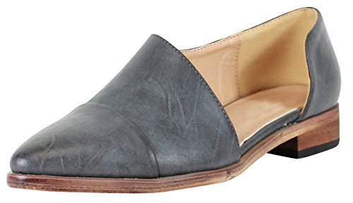Cambridge Select Women's Closed Pointed Toe Side Cutout Slip-On Shootie (10 B(M) US, Navy PU)