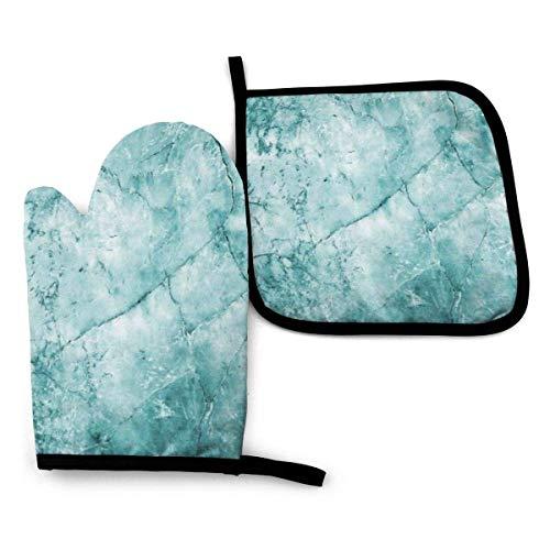 Mint Marmor Steinofen Handschuhe und Topflappen Küchenset Hitzebeständige BBQ Backen Kochhandschuhe