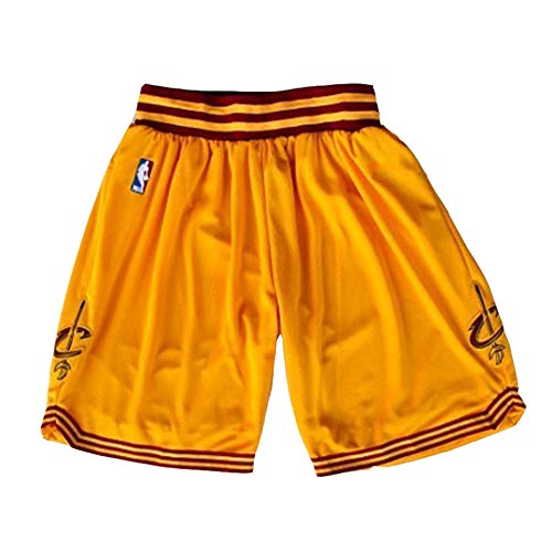 Cleveland Cavaliers Basketball-Shorts, Herren-Stickerei Basketball-Fan-Shorts, professioneller Stretch-Stoff lose atmungsaktiv Wiederholbare Reinigung Freunde-Yellow A-XL