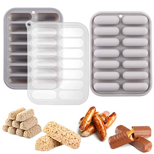 Juome (2 Pcs) 14 Cavity Granola Bars Molds, Silicone Bar Mold for Cereal, Sausage, Chocolate, Candy, Butter, Eclair