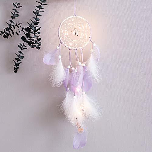 Smoro Feder traumfänger Mobile led lichterketten batteriebetriebene hängende Ornamente lila eingetaucht Glitter Federn böhmischen Hochzeit Dekorationen, Boho chic, kinderzimmer dekor