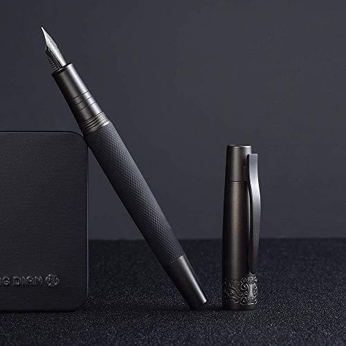 Hongdian 6013 - Penna stilografica nera opaca, pennino extra fine con confezione regalo in metallo, colore: Nero opaco