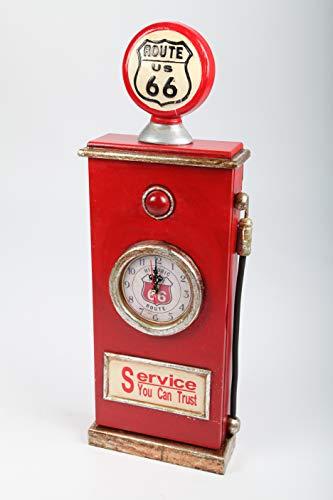 point home Design-Schlüsselschrank Zapfsäule mit Uhr, Retro, rot, 63cm