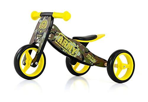 JAKE bicicletta 2 in 1 tre ruote e bicicletta a spinta in legno, giocattolo a spinta per bambini con ruote in gomma, Modello:Jake Army