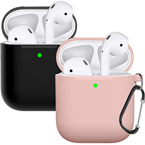 Compatible with AirPods Case Cover Silicone Protective Skin for Airpods Case 2&1 (2 Pack) Black/Sand Pink