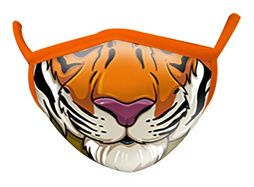 Wild Republic Wild Smiles Childs Face Mask, Reusable Face Mask, Washable Face Mask, Half Face Mask, Tiger Mouth Design