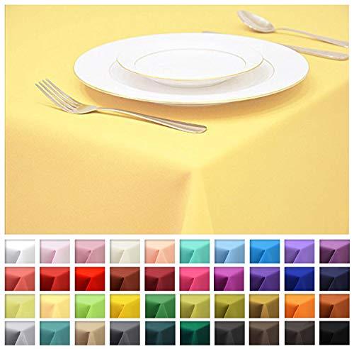 Rollmayer Tischdecke Tischtuch Tischläufer Tischwäsche Gastronomie Kollektion Vivid (Pastellgelb 44, 80x80cm) Uni einfarbig pflegeleicht waschbar 40 Farben