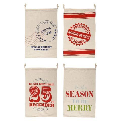 HAPPY DEALS ~ Weihnachtsmannbeutel, wiederverwendbar, Leinen, 71 x 46 cm, 4 Stück