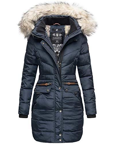 Navahoo Damen Winter Jacke Mantel Parka warm gefütterte Winterjacke B383 [B383-Paula-Blau-Gr.XS]