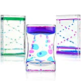 Lemostaar Bubble Timer - Liquid Motion Bubbler Timer Sensory Toy for Kids & Adults, Effective Calming, Relaxing & Fun Fidget Toy for ADHD, Zig Zag & Classic Colorful Designs - 3 Pcs