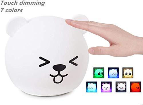 Luces de la Noche Animal Led Silicona pequeña luz de la Noche del USB Cama de Carga Panda Cabeza de la lámpara de Dibujos Animados Ambiente de Disparo Luces de Colores Mimi Oso, Oso estúpida Colorido
