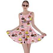 CowCow Womens Cookies Lollipop Candy Macaroon Icecream Coffee Food Dessert Skater Dress, XS-5XL