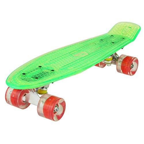 WeSkate Cruiser - Monopatín completo Mini Skateboard de 55 cm, Penny Board con ruedas LED de poliuretano, rodamientos ABEC-7, ideal como regalo para niños, adolescentes y adultos, Verde + Rojo