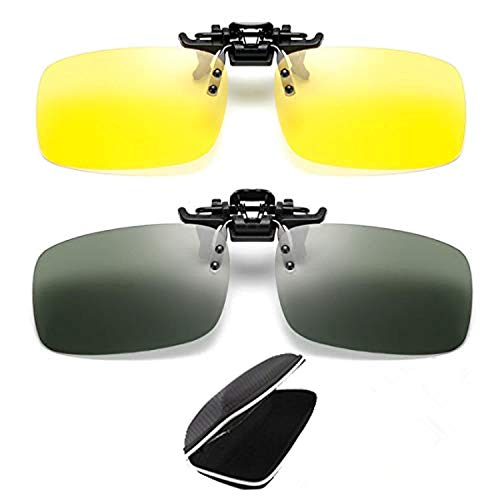 2 pares de gafas de sol unisex Clip en visión nocturna Lentes polarizadas Protección antideslumbrante UV400 Conducción Pesca Disparos Esquí de caza Deportes al aire libre Visión nocturna Gafas para ho