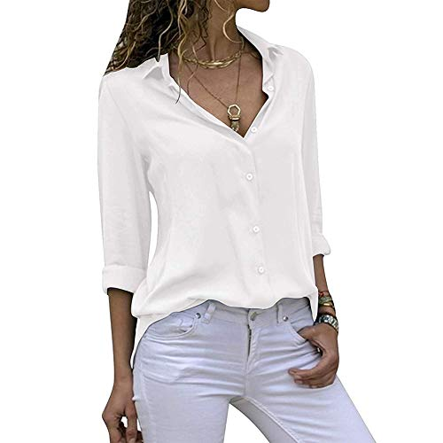 Decai Camisa Mujeres Blusa Casual Cuello V Camiseta Túnica Color Puro Camisa de Gasa Mangas Largas para Mujer Sexy Camisetas Tops Blanco 42-44 EU