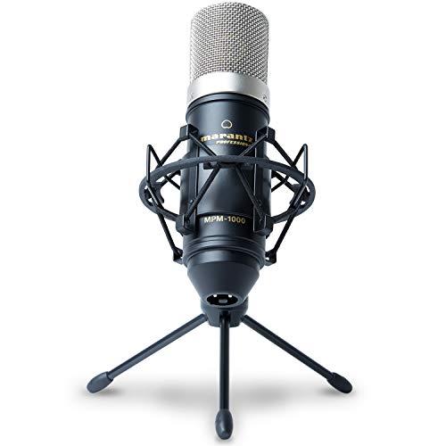 Marantz Professional MPM1000 - Professional Studio Rundfunk Aufnahme Großmembran Kondensatormikrofon-Set mit Windschutz/Pop Schutz Filter, Shockmount, Tripod Ständer und XLR Kabel für Zuhause, Studio