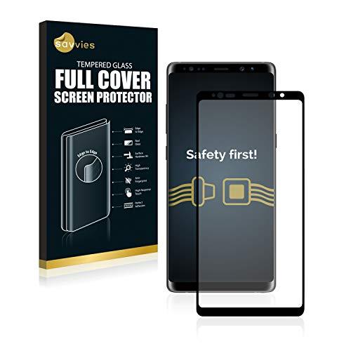 Savvies Full Cover kompatibel mit Samsung Galaxy Note 8 Panzerglas Full Screen Schutzfolie - vollständige Abdeckung, 3D Curved, 9H Härte, Schwarz