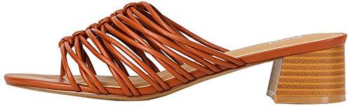Marca Amazon - Find. Sandalias abiertas para mujer., color Marrón, talla 37 EU