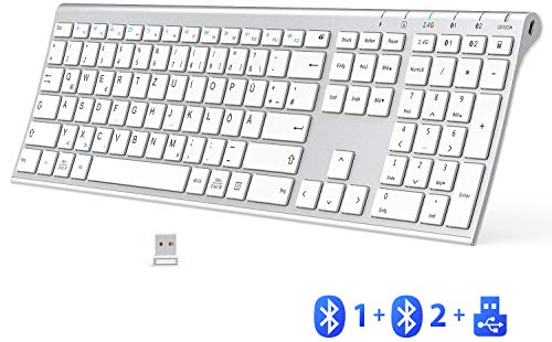 Bluetooth Tastatur - 2,4 G Wireless Tastatur Wieder aufladbare Bluetooth 4.2 + 2,4 G Multi-Device-Tastatur, ultraflache Dual-Mode-Tastatur in voller Größe für Mac, iPhone, Windows, Android, iOS, weiß