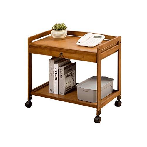 LLF Küchenwagen, 2-stufiger Mehrzweck-Bambus-Servierwagen Mit Feststellbaren Schubladenrädern for Das Wohnzimmer Im Büro Zu Hause (Color : A, Size : 59 * 33 * 55cm)