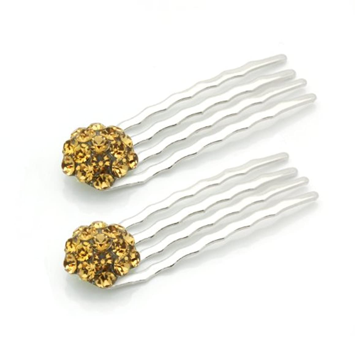 DoubleAccent Hair Jewelry Small Simulated Crystal Cluster Mini Bridal Hair Comb Set of Two, Light Brown
