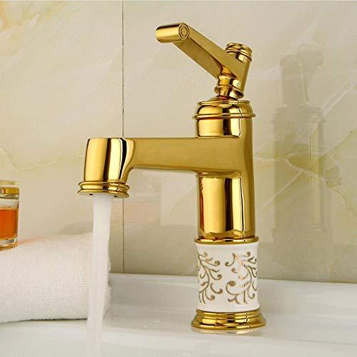 Rubinetti per lavandini bagno Rubinetto da bagno Rubinetto in ottone dorato con rubinetteria in cristallo Maniglia singola di lusso Acqua calda e fredda
