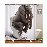 DOLOVE Polyester Duschvorhang Antischimmel Badvorhang Vintage Elefant Bad Vorhang Antibakterieller Duschvorhang 150X180 cm