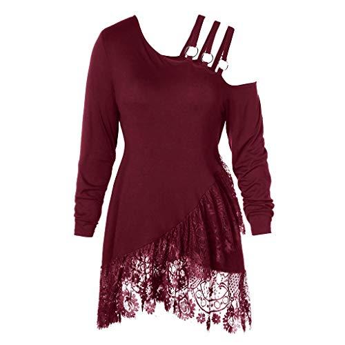 FAMILIZO Camisetas Mujer Verano Blusa Elegante Fiesta Originales Tallas Grandes Camisas Moda Mujeres Más Tamaño Encaje Irregular Skew Cuello Cinturón Camiseta Tops Blusa