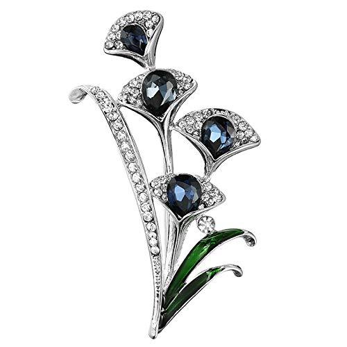 SUIER Broche De Mujer, Broche De Diamantes Y Aceite Goteando Negro Y Azul, Insignia De Pin De Gloria De La Mañana, Broche De Flores Estilo Chino