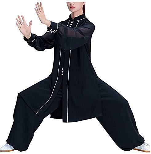 zyl Mujeres Kung Fu Uniforme Trajes de Tai Chi Traje Tang Ropa de Artes Marciales Chinesische Kung Fu Wing Chun Kleidung Zen Meditación Negro L