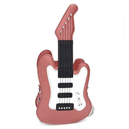 Weishazi Damen-Handtasche in Gitarrenform, PU-Leder rose pink Kinder