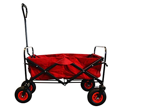 MAXOfit Faltbarer Bollerwagen mit Luftreifen, Schutzhülle und Bremse | 360° Räder | Handwagen Platzsparend klappbar, bis 70kg, Rot