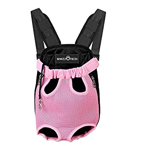 Whizzotech Pet Carrier Front Pack, Adjustable Pet Front Cat Dog Carrier Backpack Travel Bag, Legs Out, Easy-Fit for Traveling Hiking Camping for Small Medium Dogs, Size Medium, Pink