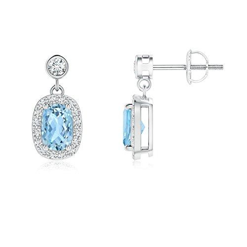 Orecchini pendenti con acquamarina con diamante halo (6 x 4 mm acquamarina) e Oro bianco, cod. ANG-E-SE1148AQD-WGN-AAA-6x4