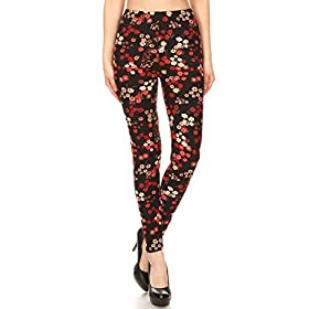 S690-OS Candid Blooms Print Fashion Leggings