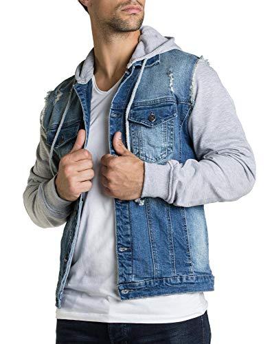 BLZ Jeans Kapuzenjacke aus Jeans und Molton Sweatshirt, blau und hellgrau Gr. S, blau