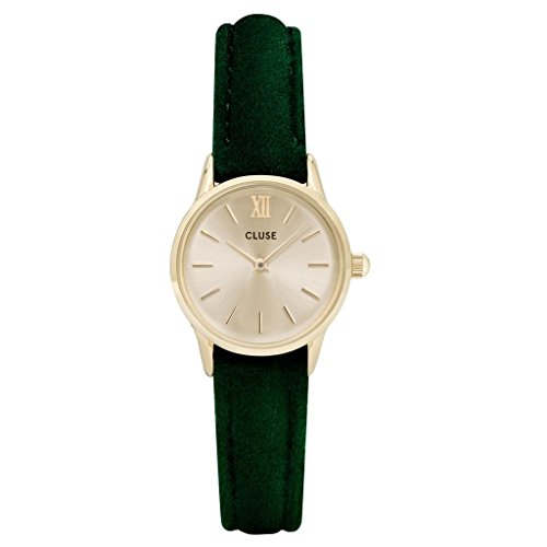 Cluse Women's La Vedette 24mm Green Leather Band Metal Case Quartz Gold-Tone Dial Analog Watch CL50016