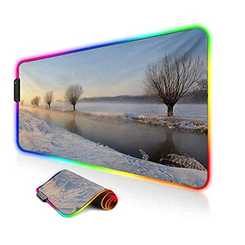 RGB Gaming Mouse Pad Mat,Snowy River Landscape Barren and Frosted Trees Dutch Netherlands Europe Photograph Computer Keyboard Desk Mat,35.6'x15.7',for Game Players,Office,Study Multicolor